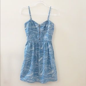 VANS Chambray Tropical Leaf Print Dress Size Small